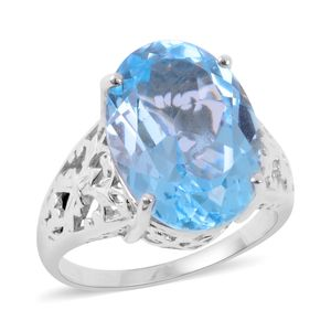 Sky Blue Topaz 14K YG and Platinum Over Sterling Silver Openwork Solitaire Ring (Size 8.0) TGW 15.500 cts.