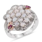 Australian White Opal, Ruby, White Topaz 14K RG and Platinum Over Sterling Silver Cluster Split Ring (Size 7.0) TGW 2.19 cts.
