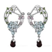 Mozambique Garnet, Multi Gemstone Platinum Over Sterling Silver Omega Clip Earrings TGW 6.31 cts.