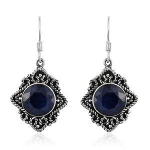 Artisan Crafted Madagascar Blue Sapphire Sterling Silver Earrings TGW 12.72 cts.