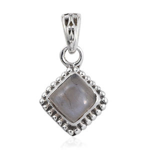 Artisan Crafted Rainbow Moonstone Sterling Silver Pendant without Chain TGW 1.10 cts.