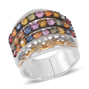 Multi Sapphire 14K YG Over and Sterling Silver Openwork Elongated Statement Ring (Size 6.0) TGW 4.020 cts.