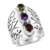 Artisan Crafted Hebei Peridot, Mozambique Garnet, Amethyst Sterling Silver Ring (Size 10.0) TGW 2.48 cts.