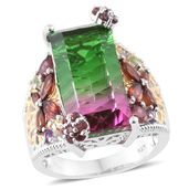 Watermelon Quartz, Multi Gemstone 14K YG and Platinum Over Sterling Silver Butterfly Ring (Size 5.0) TGW 15.21 cts.