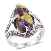 Tasmanian Stichtite, Amethyst Platinum Over Sterling Silver Ring (Size 10.0) TGW 8.250 cts.