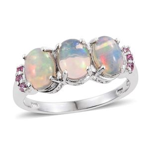 Ethiopian Welo Opal, Madagascar Pink Sapphire Platinum Over Sterling Silver Trilogy Ring (Size 7.0) TGW 2.94 cts.