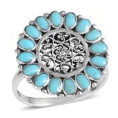 Santa Fe Style Turquoise Sterling Silver Ring (Size 8.0) TGW 2.10 cts.