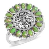 Santa Fe Style Green Moldavite Sterling Silver Ring (Size 7.0) TGW 2.100 cts.
