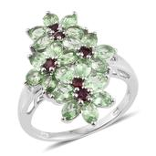 Tsavorite Garnet, Anthill Garnet Platinum Over Sterling Silver Elongated Floral Ring (Size 6.0) TGW 3.600 cts.