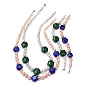 Simulated White and Pink Pearl, Green and Blue Glass Silvertone Set of 2 Bracelets (7.5 in) and Necklaces (20.00 In)