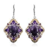 Utah Tiffany Stone, Amethyst, Mozambique Garnet 14K YG and Platinum Over Sterling Silver Openwork Lever Back Statement Earrings TGW 12.560 Cts.