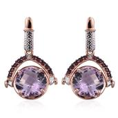GP Rose De France Amethyst, Orissa Rhodolite Garnet 14K RG Over Sterling Silver Earrings TGW 13.050 Cts.