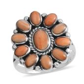 Santa Fe Style Spiny Oyster Shell Orange Sterling Silver Floral Ring (Size 9.0)