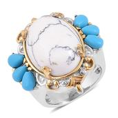 White and Blue Howlite ION Plated YG and Stainless Steel Ring (Size 7.0) TGW 15.000 cts.