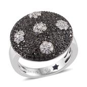 GP Certified Black Diamond (IR), Diamond Platinum Over Sterling Silver Dotted Ring (Size 7.0) TDiaWt 1.26 cts, TGW 1.290 cts.