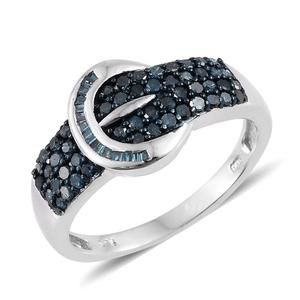 Blue Diamond (IR) Platinum Over Sterling Silver Buckle Ring (Size 9.0) TDiaWt 0.75 cts, TGW 0.75 cts.