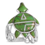 Santa Fe Style Mojave Green Turquoise Sterling Silver Ring (Size 8.0) TGW 2.500 cts.