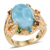 GP Larimar, Multi Gemstone 14K YG Over Sterling Silver Ring (Size 7.0) TGW 11.085 cts.