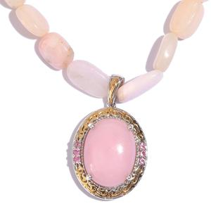 Peruvian Pink Opal, Mahenge Pink Spinel 14K YG and Platinum Over Sterling Silver Necklace (20 in) TGW 91.250 Cts.