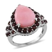 Peruvian Pink Opal, Mozambique Garnet Platinum Over Sterling Silver Ring (Size 8.0) TGW 8.650 cts.
