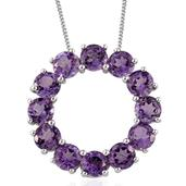 Rose De France Amethyst Platinum Over Sterling Silver Circle Pendant With Chain (20 in) TGW 5.400 Cts.