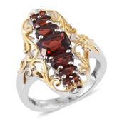Mozambique Garnet 14K YG and Platinum Over Sterling Silver Ring (Size 7.0) TGW 4.000 cts.
