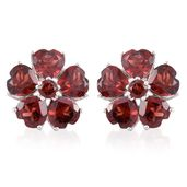 Mozambique Garnet Platinum Over Sterling Silver Flower Earrings TGW 10.360 Cts.