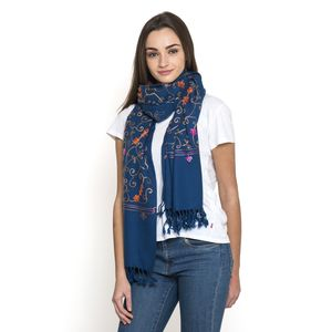 J Francis - Blue Aari Embroidery 100% Acrylic Scarf with Handmade Fringe (70x28 in)