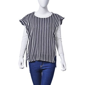 Black and White Striped 100% Polyester Tunic (Medium/Large)