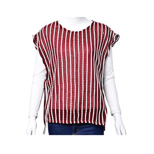 Burgundy and White Striped 100% Polyester Tunic (Medium/Large)