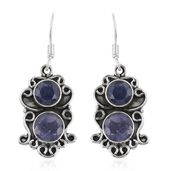 Artisan Crafted Rough Cut Tanzanite Sterling Silver Dangle Earrings TGW 7.58 cts.