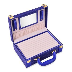 2 Tier Blue Woven Faux Leather Briefcase Style Jewelry Box with Ring Storage (Approx 72), 6 Big Compartments, 2 Button Chain Holders, and Storage Pocket (10.5x3.5x7.5 in)