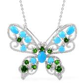 Arizona Sleeping Beauty Turquoise, Russian Diopside, White Topaz Sterling Silver Butterfly Pendant With Chain (18 in) TGW 4.870 Cts.