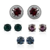 Stainless Steel Interchangable Earrings Made with Multi Color SWAROVSKI Crystal TGW 6.250 cts.