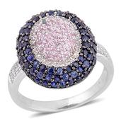 Kanchanaburi Blue and Pink Sapphire, White Topaz Black Rhodium Over and Sterling Silver Ring (Size 7.0) TGW 2.450 cts.