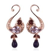 Tribal Collection of India Multi Gemstone 14K RG Over Sterling Silver Drop Earrings TGW 9.27 cts.