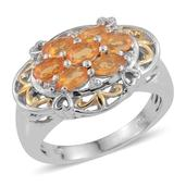 Salamanca Fire Opal, White Zircon 14K YG and Platinum Over Sterling Silver Ring (Size 6.0) TGW 1.270 cts.