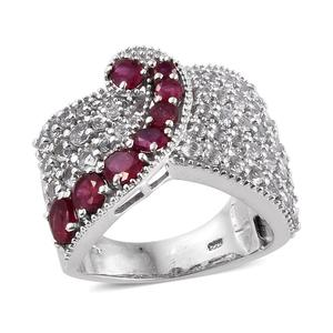 Niassa Ruby, White Topaz Platinum Over Sterling Silver Cluster Statement Ring (Size 7.0) TGW 4.81 cts.