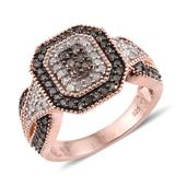 Champagne Diamond, Diamond 14K RG Over Sterling Silver Ring (Size 7.0) TDiaWt 1.00 cts, TGW 1.00 cts.
