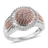 Diamond, Natural Pink Diamond 14K RG and Platinum Over Sterling Silver Ring (Size 7.0) TDiaWt 0.75 cts, TGW 0.75 cts.