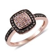 Natural Pink and Champagne Diamond Black Rhodium & 14K RG Over Sterling Silver Ring (Size 10.0) TDiaWt 0.48 cts, TGW 0.48 cts.