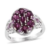 Purple Garnet Platinum Over Sterling Silver Ring (Size 8.0) TGW 3.500 cts.