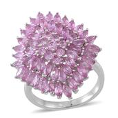 Madagascar Pink Sapphire Sterling Silver Cluster Ring (Size 8.0) TGW 5.89 cts.