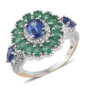 Himalayan Kyanite, Kagem Zambian Emerald, White Zircon 14K YG and Platinum Over Sterling Silver Ring (Size 8.0) TGW 5.860 cts.