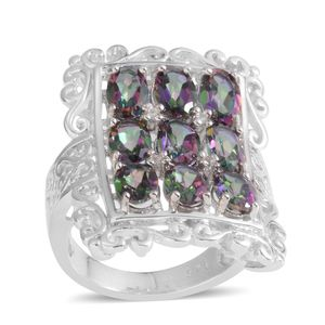 Northern Lights Mystic Topaz, White Topaz Sterling Silver Openwork Ring (Size 7.0) TGW 4.850 cts.