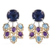 Color Change Fluorite, Electric Blue Topaz, Amethyst 14K YG and Platinum Over Sterling Silver Ear Jacket Earrings TGW 8.300 Cts.