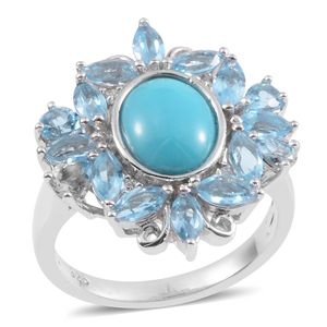 Arizona Sleeping Beauty Turquoise, Swiss Blue Topaz, White Zircon Sterling Silver Ring (Size 7.0) TGW 4.790 cts.