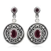 Artisan Crafted Niassa Ruby Sterling Silver Engraved Dangle Earrings TGW 4.03 cts.