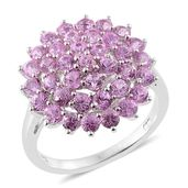 Dan's Collector Deals Madagascar Pink Sapphire Platinum Over Sterling Silver Cluster Ring (Size 6.0) TGW 3.42 cts.