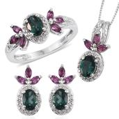 Indian Ocean Apatite, Orissa Rhodolite Garnet, White Topaz Platinum Over Sterling Silver Earrings, Ring (Size 8) and Pendant With Chain (20 in) TGW 4.720 cts.
